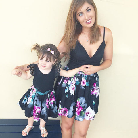 Mother & Daughter Matching Floral Print Dresses