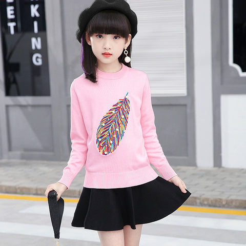 Girl's Autumn Feather Pattern Pullover Sweater