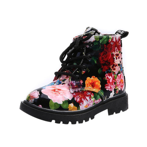 High Fashion Floral Army Style Girl's Boots