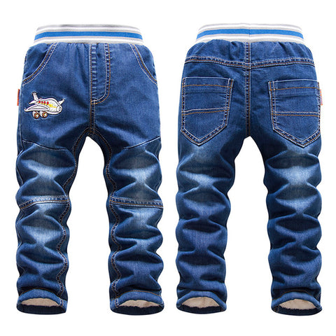 Winter Boy's Airplane Fleece-lined Pull-On Jeans