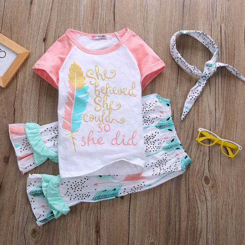 Inspirational 3 Pc Girl's Capri Set