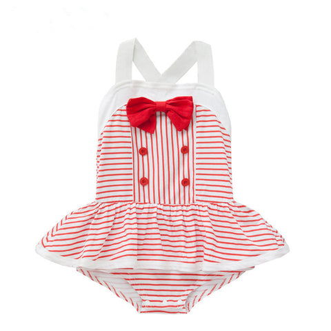 Red & White Pinstripe Romper