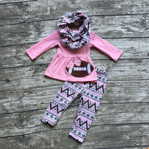 Girl's Pink & Black Long Sleeve Fall Football Pant Set with Scarf