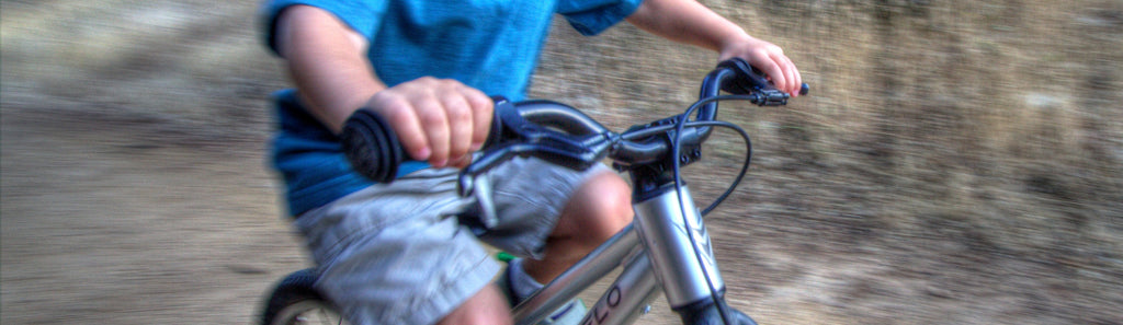 kids bike hand brake closeup
