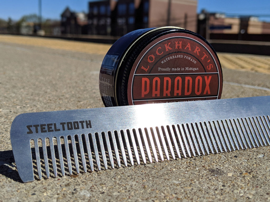 lockharts water based pomade with steeltooth comb.