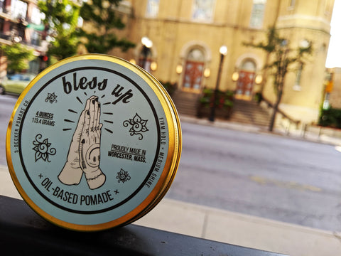 Bless UP pomade outside of St. Pat's church in Chicago, Illinois.