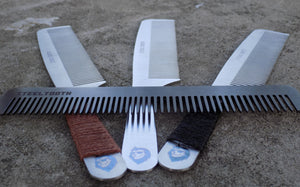 The entire steeltooth collection of combs. They are designed to work on thick hair, beard hair, natural hair, and long hair.