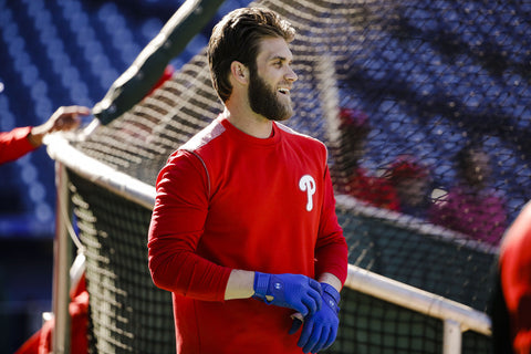Bryce harper with an even haircut and decent length at batting practice for the Philadelphia Phillies.