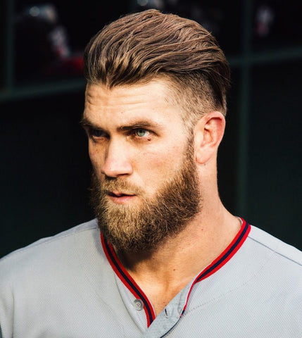 Bryce Harper with an undercut and long hair on the top.