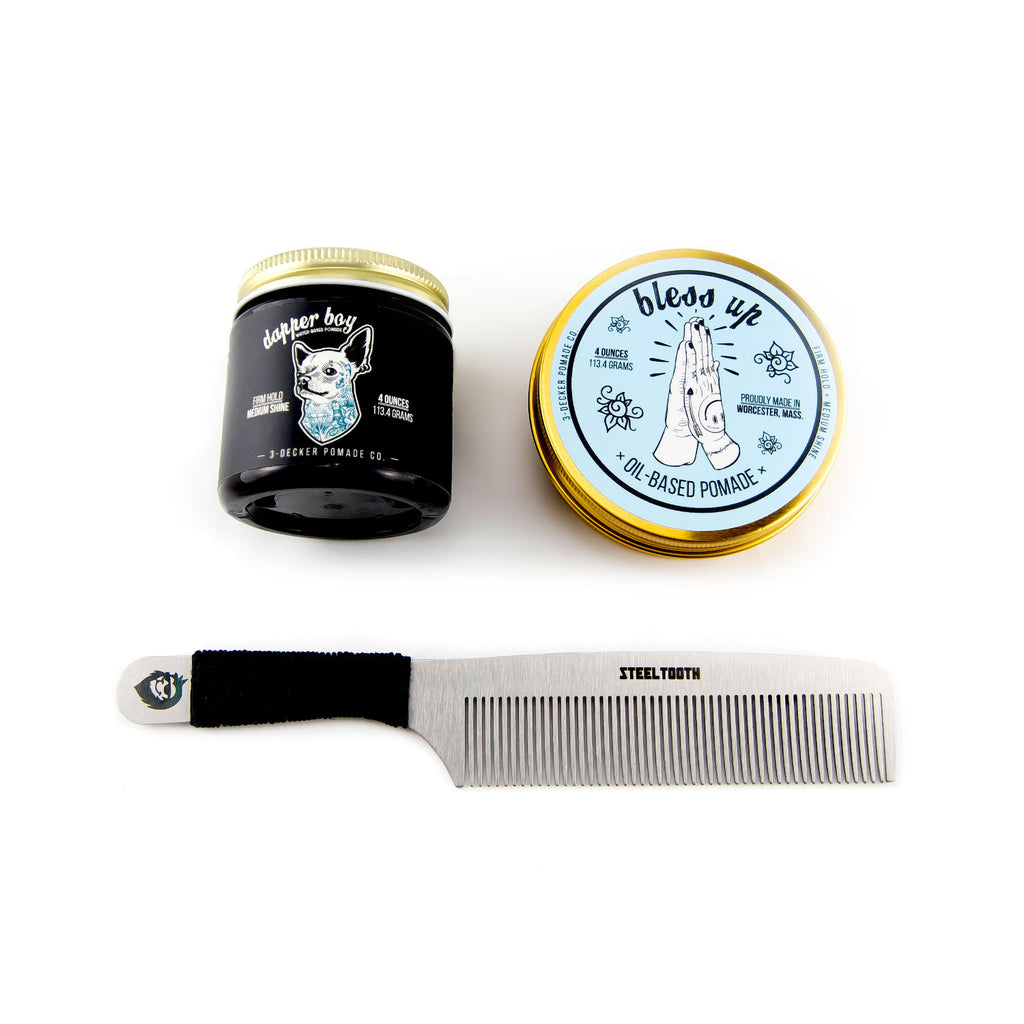 Steeltooth and 3decker pomade combo package featuring a hemp cordage comb in black.