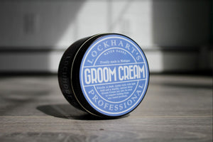 Lockhart's groom cream, a product that removes grease build up from oil based pomades.