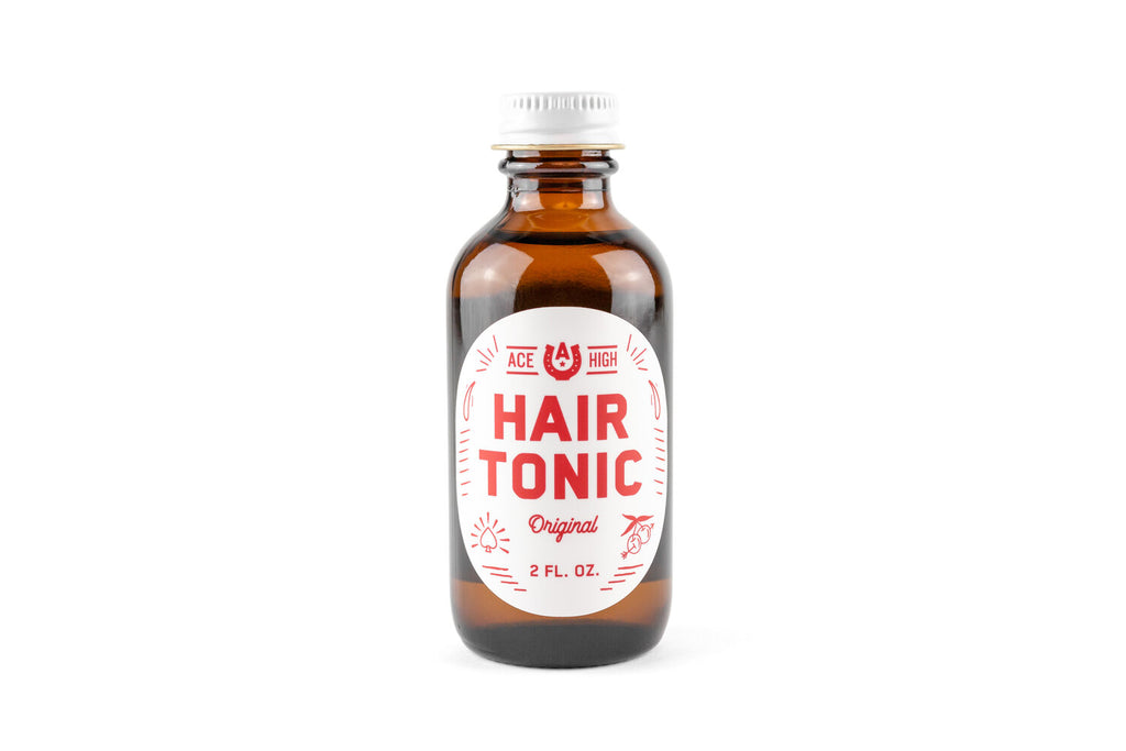 Ace high hair tonic in a glass bottle.