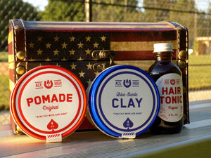 Ace High water based gift set featuring the original, blue suede clay, and Hair tonic.