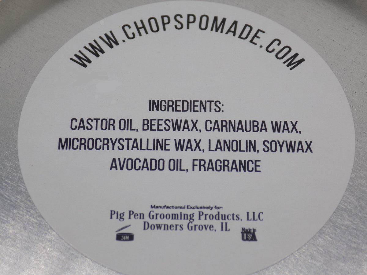 Chops pomade ingredients. Castor oil, beeswax, avocado oil. All natural ingredients in the oil based pomade