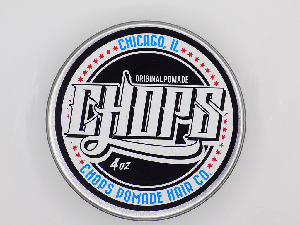 Chops Oil based pomade top shot. Design resembles the chicago flag