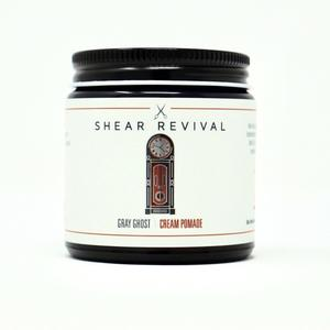 Shear Revival Gray Ghost cream pomade sitting upright with the label facing forward.