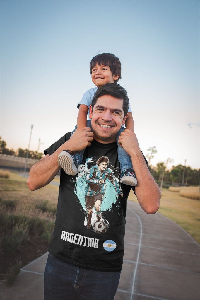 Father and son wearing Argentina shirts for the world cup in 2018