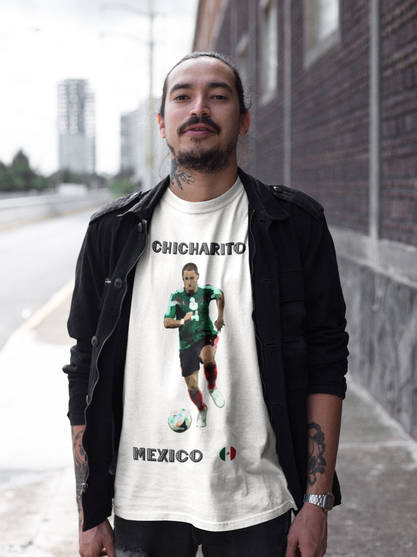 Man wearing a mexico world cup shirt featuring Javier Chicharito Hernandez in white