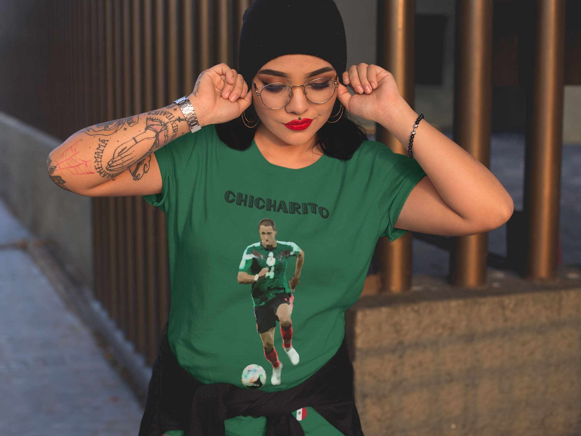 Woman wearing a mexico world cup shirt featuring Javier Chicharito Hernandez in green