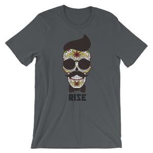 Day of the dead t shirt with the words Rise underneath.