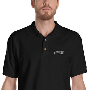 Embroidered Steeltooth Combs Black Polo