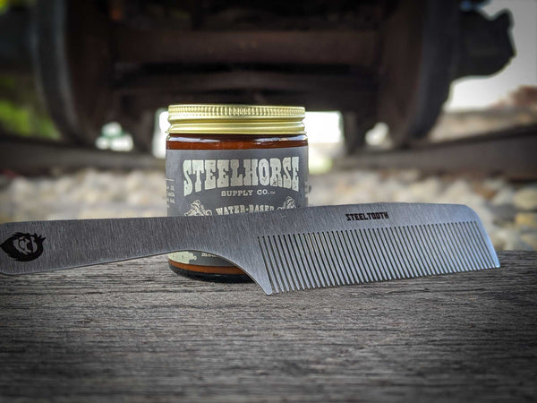 Steeeltooth comb with Steelhorse supply co uwb pomade.