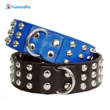 2 inch Leather Studded Dog Collar 17-24inch