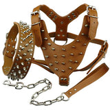 "Spiked Studded Leather Pitbull Harness Chest 26""-34"""