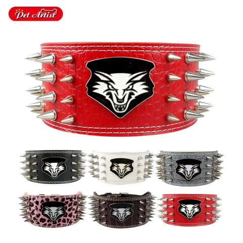 "3"" Width Spiked Leather Collar for Pitbull Mastiff"