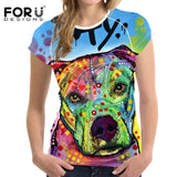 Womens T Shirt 3D Pitbull