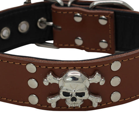 Studded Leather Dog Collar With Skull
