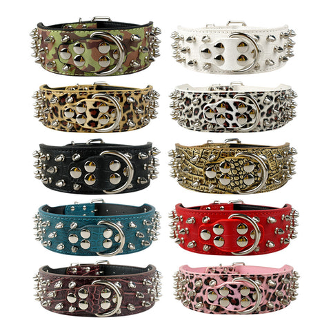"2"" Wide Studded Leather Dog Collars for Pitbull Boxer Mastiff"