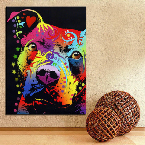 Large size Pitbull Print Oil Painting- Frame not included