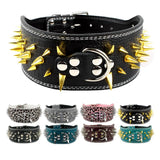Spiked Leather Dog Collar Fit For Pitbull Mastiff