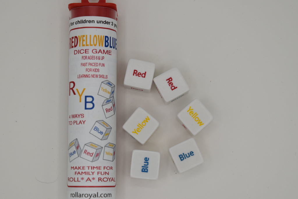 Red Yellow Blue Game. 6 Dice with color coded words. Easy, Fast, Family Game, Enhances Math Skills. Instructions included.