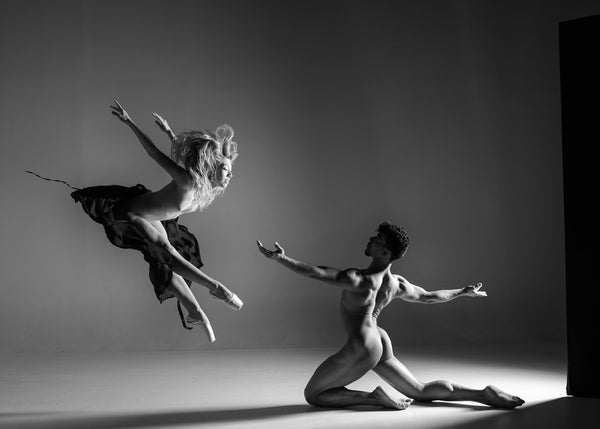 dancers print duet black and white nude