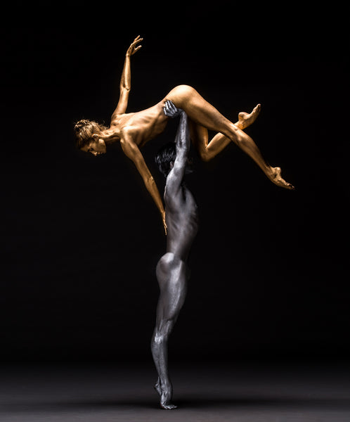 Art Dance Photography Prints - Purchase Online the artwork: Mehron Figures - duet of silver and gold by Francisco Estevez