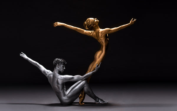Art Dance Photography Prints - Purchase Online the artwork: Mehron Figures - silver boy and gold girl by Francisco Estevez