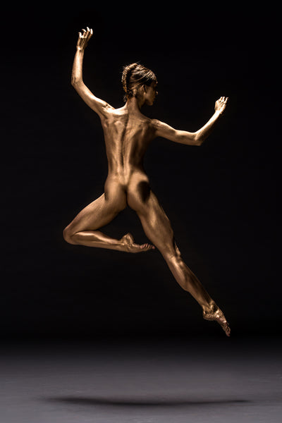 Art Dance Photography Prints - Purchase Online the artwork: Mehron Figures - golden ballerina in jump by Francisco Estevez