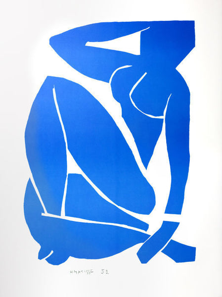 Henri Matisse nude lithographNu Bleu III (Blue Nude III), 2007 by Henri Matisse (French, 1869–1954)  Lithograph, size 79 × 58 cm | 31 1/10 × 22 4/5 in Edition of 200 This work is part of a limited edition set.  Color lithograph after the work by Henri Matisse. This lithograph was printed and published in 2007 in our Art-Lithography's workshop in Paris using 100% cotton 300 g/m² BFK Rives paper to celebrate the 60th anniversary of the original 1947 Jazz book of which our portfolio is the facsimile.