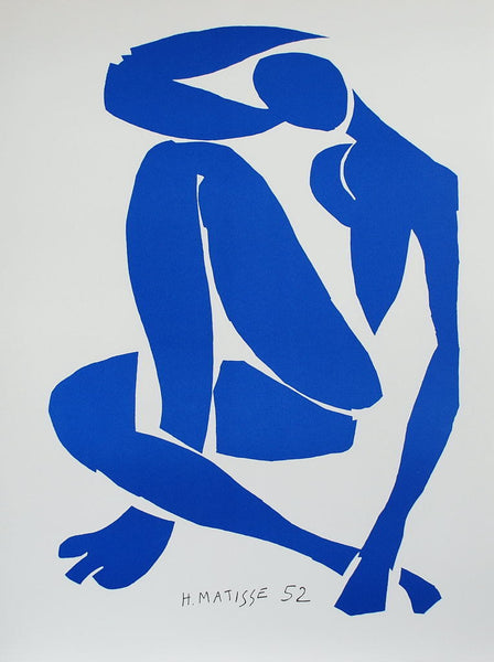 Nu Bleu IV (Blue Nude IV), 2007 by Henri Matisse (French, 1869–1954)  Lithograph, size 79 × 58 cm | 31 1/10 × 22 4/5 in Edition of 200 This work is part of a limited edition set.  Color lithograph after the work by Henri Matisse. This lithograph was printed and published in 2007 in our Art-Lithography's workshop in Paris using 100% cotton 300 g/m² BFK Rives paper to celebrate the 60th anniversary of the original 1947 Jazz book of which our portfolio is the facsimile.