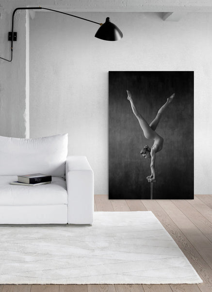 Female, gymnast, acrobat, handstand, vintage, circus. Art print close to a living room wall.