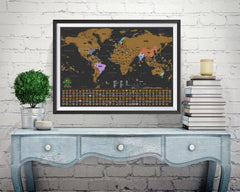 Scratch off world map poster brick wall