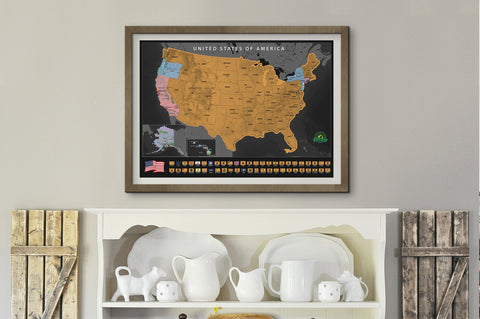 Earthabitats Scratch Off USA Map Poster, framed map of the United States