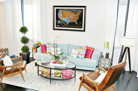 Earthabitats Scratch Off USA Map Poster, the perfect living room decoration