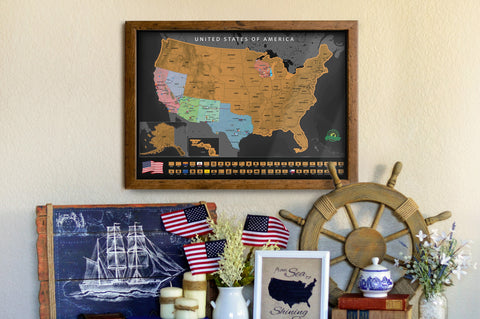 Earthabitats Scratch Off USA Map Poster, perfect living room decor