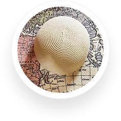 Fashion Sun Hat Map Print