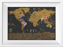 Scratch off world map poster white frame