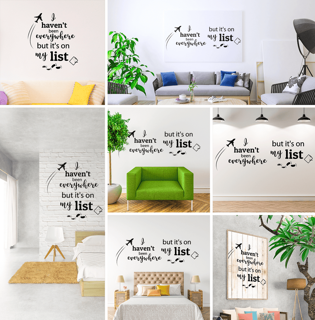 Earthabitats Vinyl Decal Quote in many wall settings, inspirational quote wall decal