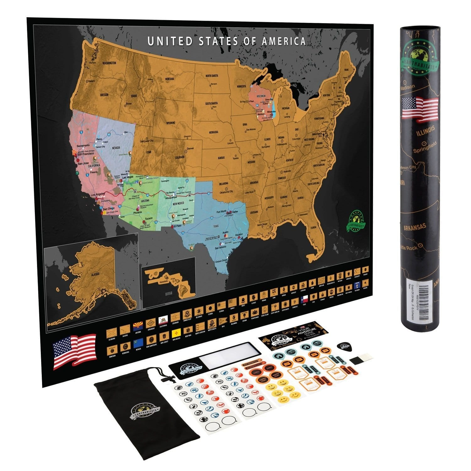 Scratch Off USA Map Poster